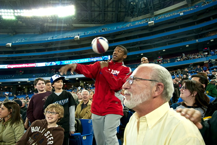 Harlem Globetrotters entertain fans at the SkyDome on Wednesday night.