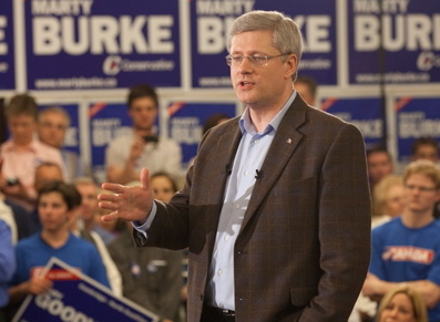 Stephen Harper stumping in Guelph on Monday as the election campaign enters its second week.