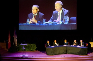 Alan Dershowitz and David Gergen at Spirit of Hope panel discussion