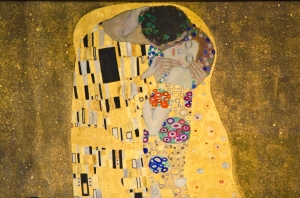 Detail of Klimt The Kiss at the Belvedere Palace Museum in Vienna