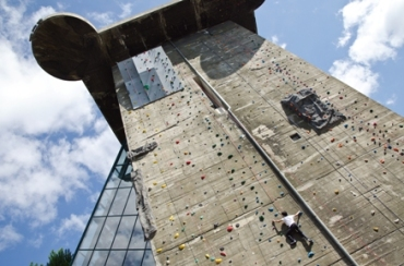 Rock climbing on Bunker Tower in Vienna